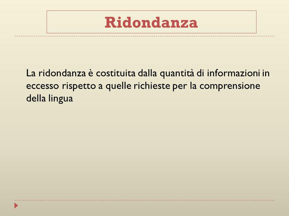 La ridondanza è costituita dalla quantità di informazioni in eccesso rispetto a quelle richieste per la comprensione della lingua Ridondanza