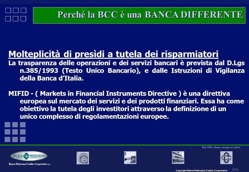 Copyright Banca Padovana Credito Cooperativo [ 13 ] MASTERPLAN – Il progetto Molteplicità di presìdi a tutela dei risparmiatori La trasparenza delle o