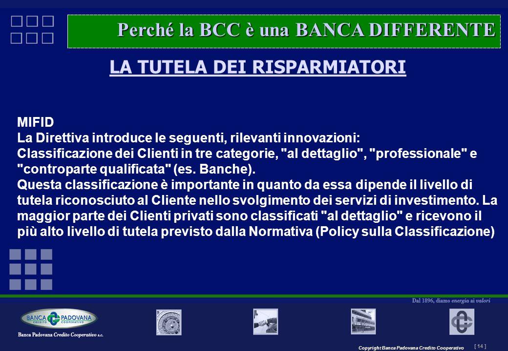 Copyright Banca Padovana Credito Cooperativo [ 14 ] MASTERPLAN – Il progetto LA TUTELA DEI RISPARMIATORI MIFID La Direttiva introduce le seguenti, ril
