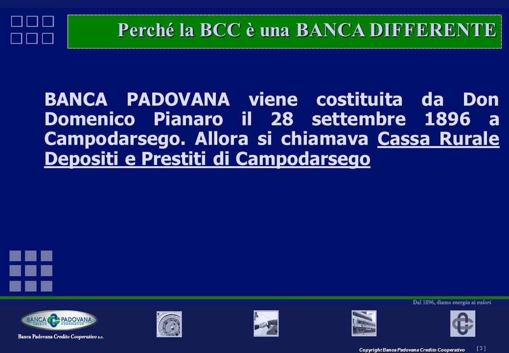 Copyright Banca Padovana Credito Cooperativo [ 3 ] MASTERPLAN – Il progetto BANCA PADOVANA viene costituita da Don Domenico Pianaro il 28 settembre 18