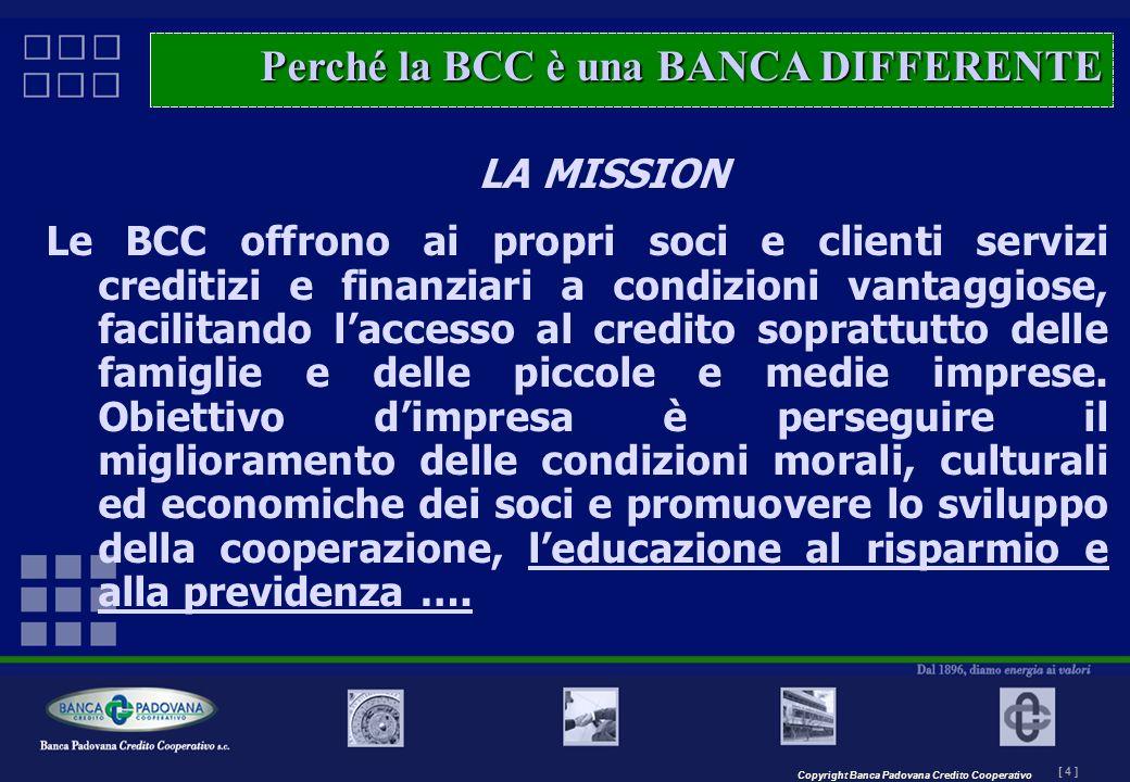 Copyright Banca Padovana Credito Cooperativo [ 4 ] MASTERPLAN – Il progetto LA MISSION Le BCC offrono ai propri soci e clienti servizi creditizi e fin