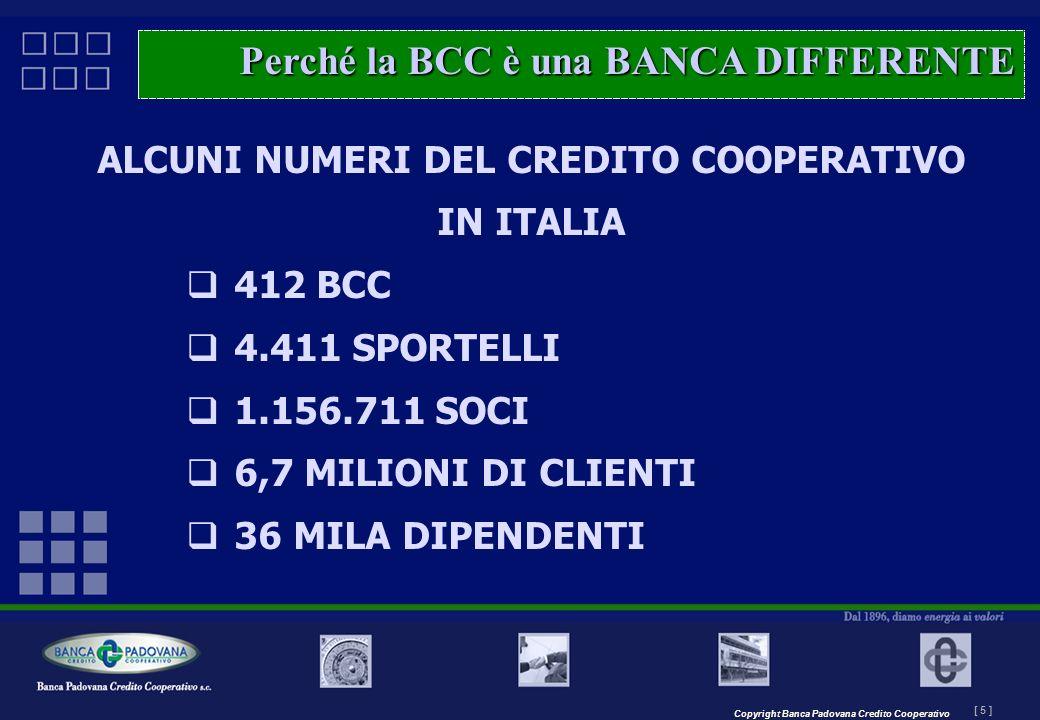 Copyright Banca Padovana Credito Cooperativo [ 5 ] MASTERPLAN – Il progetto ALCUNI NUMERI DEL CREDITO COOPERATIVO IN ITALIA 412 BCC 4.411 SPORTELLI 1.