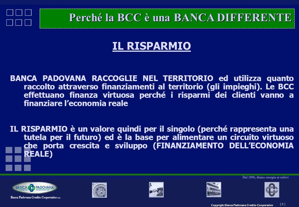 Copyright Banca Padovana Credito Cooperativo [ 6 ] MASTERPLAN – Il progetto IL RISPARMIO BANCA PADOVANA RACCOGLIE NEL TERRITORIO ed utilizza quanto ra