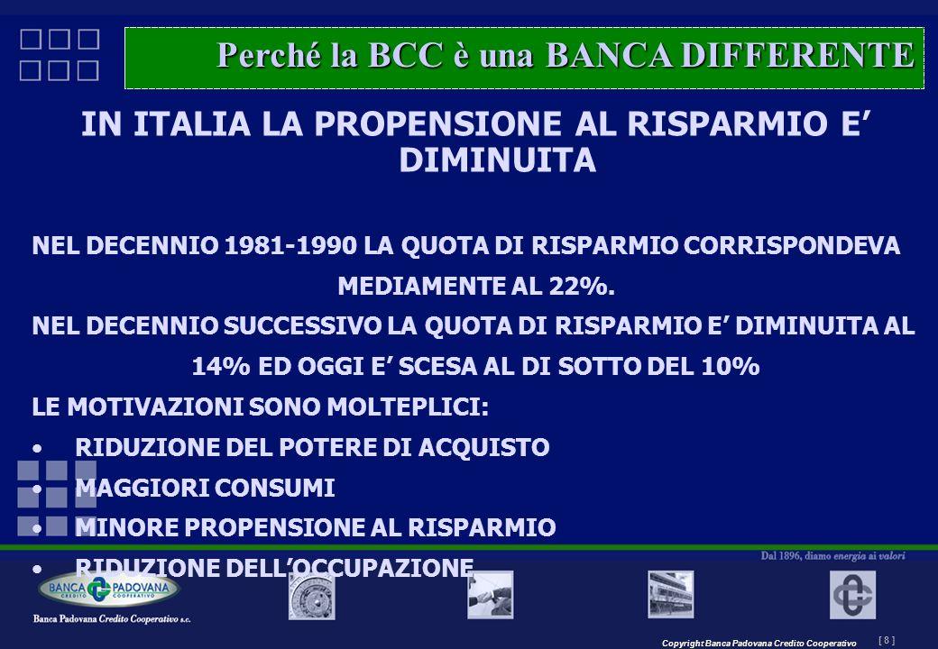 Copyright Banca Padovana Credito Cooperativo [ 8 ] MASTERPLAN – Il progetto IN ITALIA LA PROPENSIONE AL RISPARMIO E DIMINUITA NEL DECENNIO 1981-1990 L