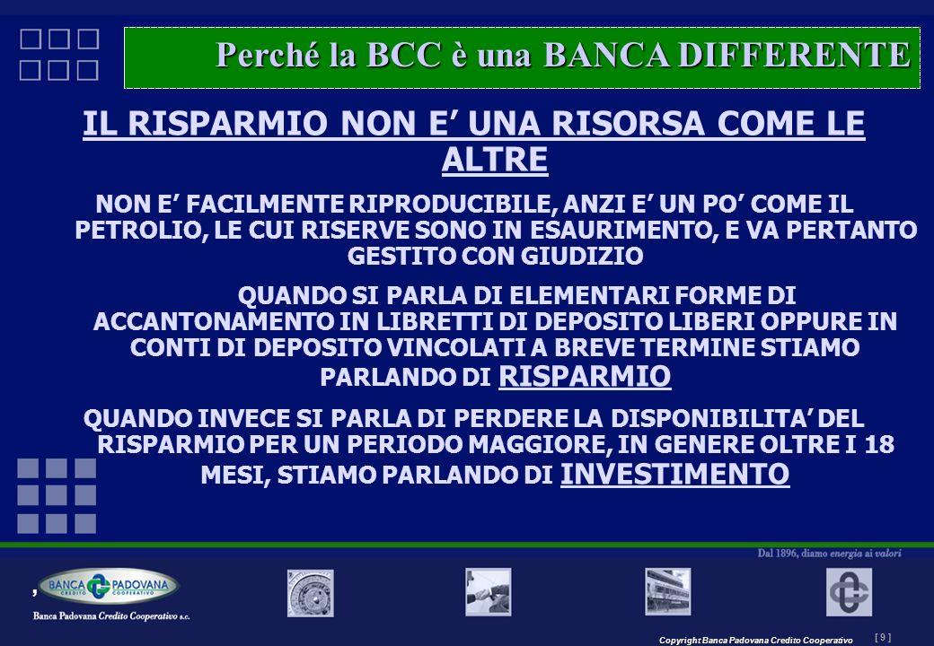Copyright Banca Padovana Credito Cooperativo [ 9 ] MASTERPLAN – Il progetto IL RISPARMIO NON E UNA RISORSA COME LE ALTRE NON E FACILMENTE RIPRODUCIBIL