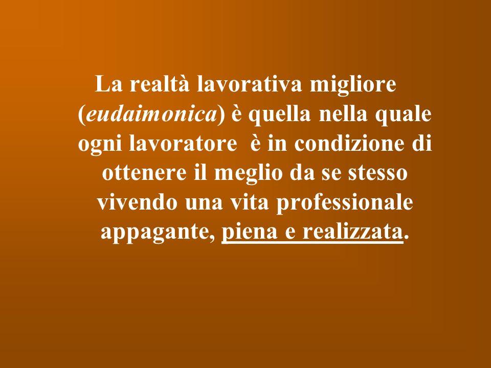 La realtà lavorativa migliore (eudaimonica) è quella nella quale ogni lavoratore è in condizione di ottenere il meglio da se stesso vivendo una vita p