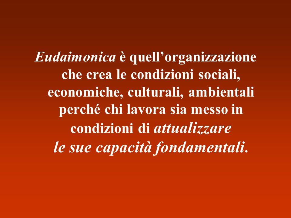 Eudaimonica è quellorganizzazione che crea le condizioni sociali, economiche, culturali, ambientali perché chi lavora sia messo in condizioni di attua