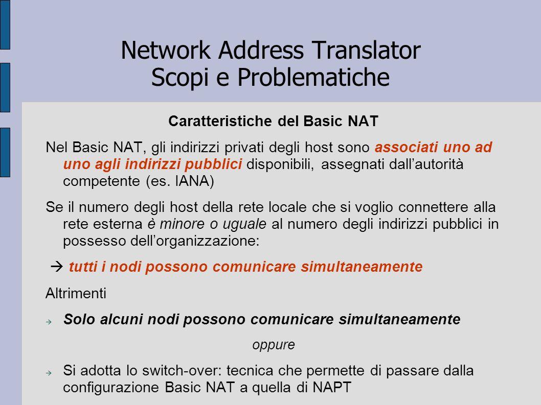 Network Address Translator Scopi e Problematiche Caratteristiche del Basic NAT Nel Basic NAT, gli indirizzi privati degli host sono associati uno ad u
