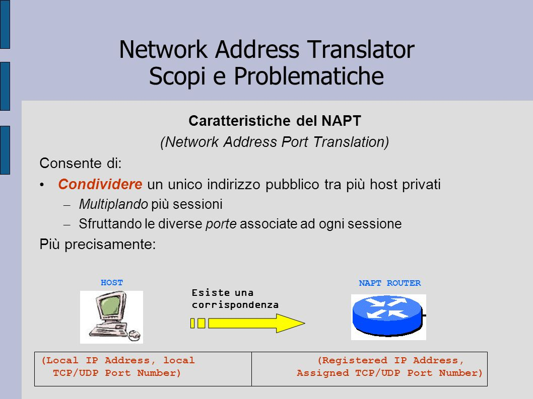 Network Address Translator Scopi e Problematiche Caratteristiche del NAPT (Network Address Port Translation) Consente di: Condividere un unico indiriz