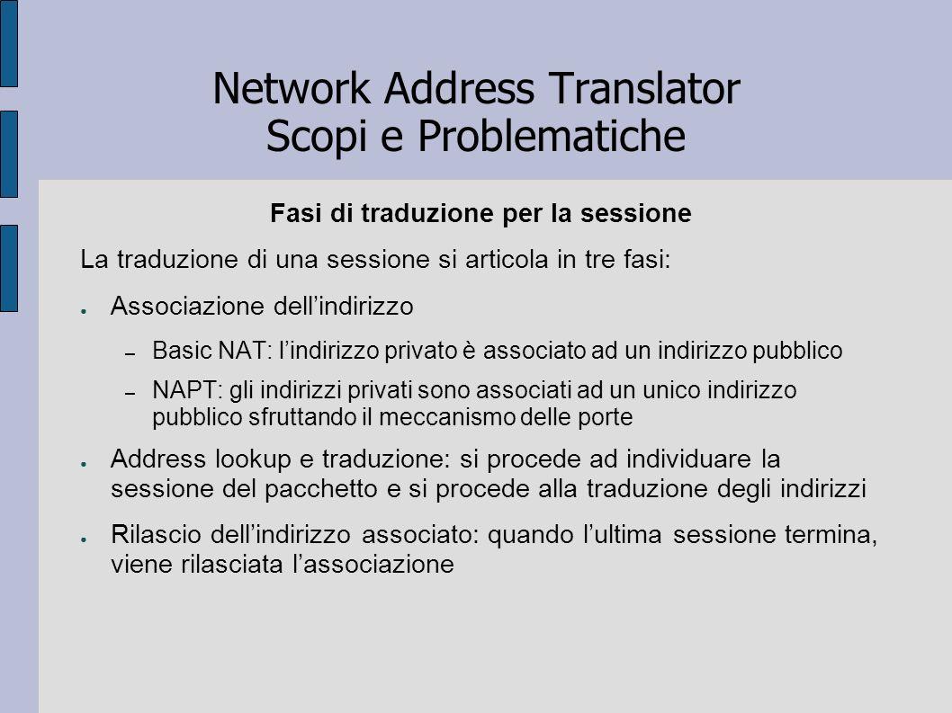 Network Address Translator Scopi e Problematiche Fasi di traduzione per la sessione La traduzione di una sessione si articola in tre fasi: Associazion
