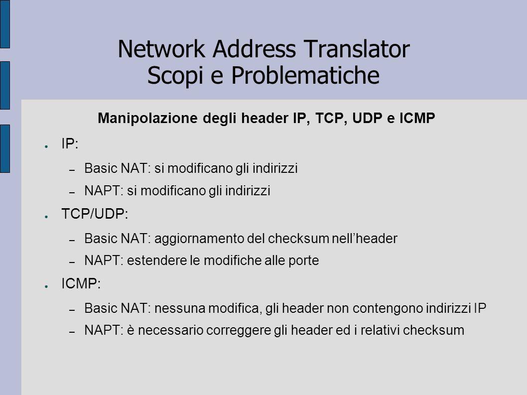 Network Address Translator Scopi e Problematiche Manipolazione degli header IP, TCP, UDP e ICMP IP: – Basic NAT: si modificano gli indirizzi – NAPT: s