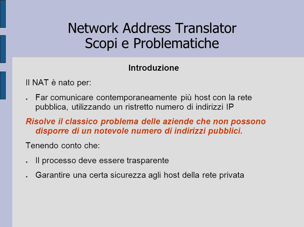 Network Address Translator Scopi e Problematiche Introduzione Il NAT è nato per: Far comunicare contemporaneamente più host con la rete pubblica, util