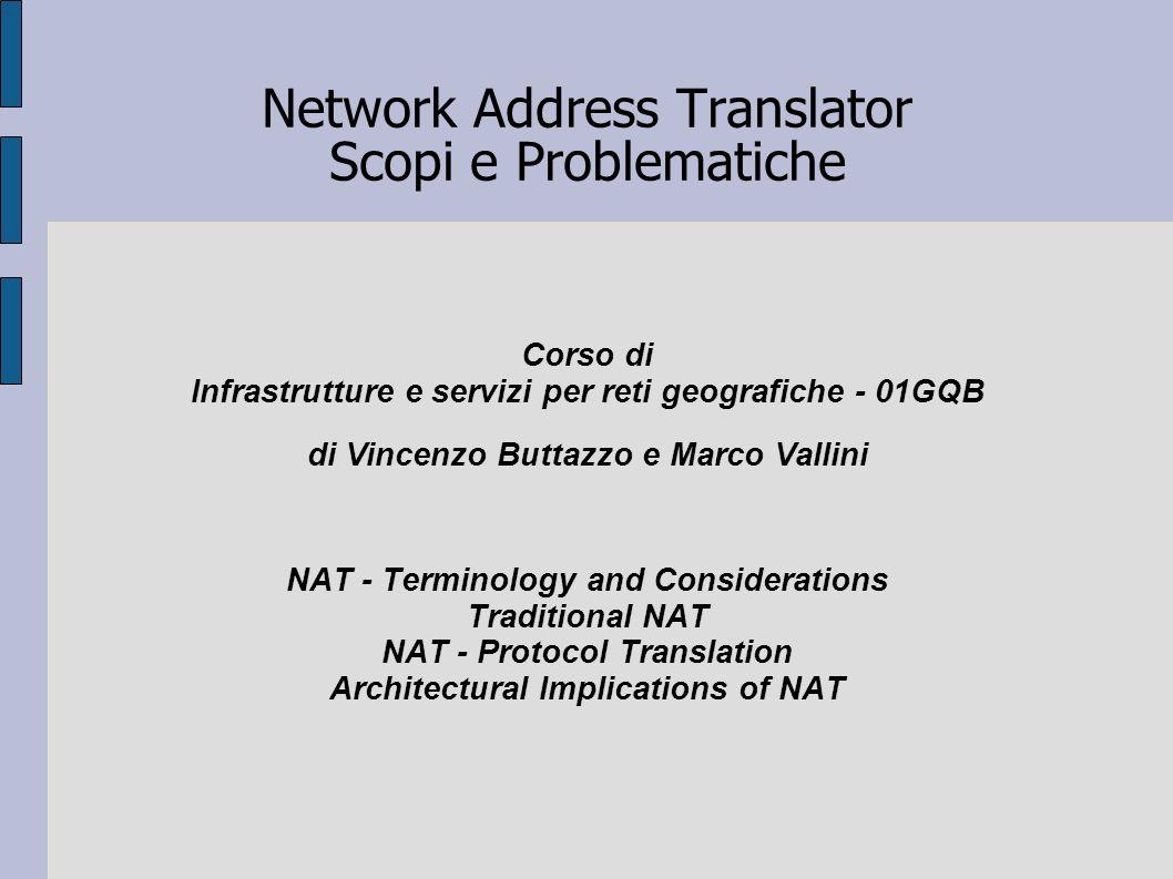 Network Address Translator Scopi e Problematiche Corso di Infrastrutture e servizi per reti geografiche - 01GQB di Vincenzo Buttazzo e Marco Vallini N
