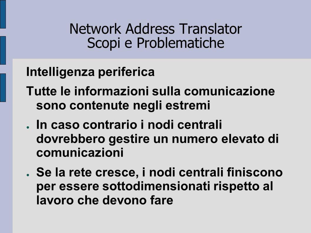 Network Address Translator Scopi e Problematiche Intelligenza periferica Tutte le informazioni sulla comunicazione sono contenute negli estremi In cas