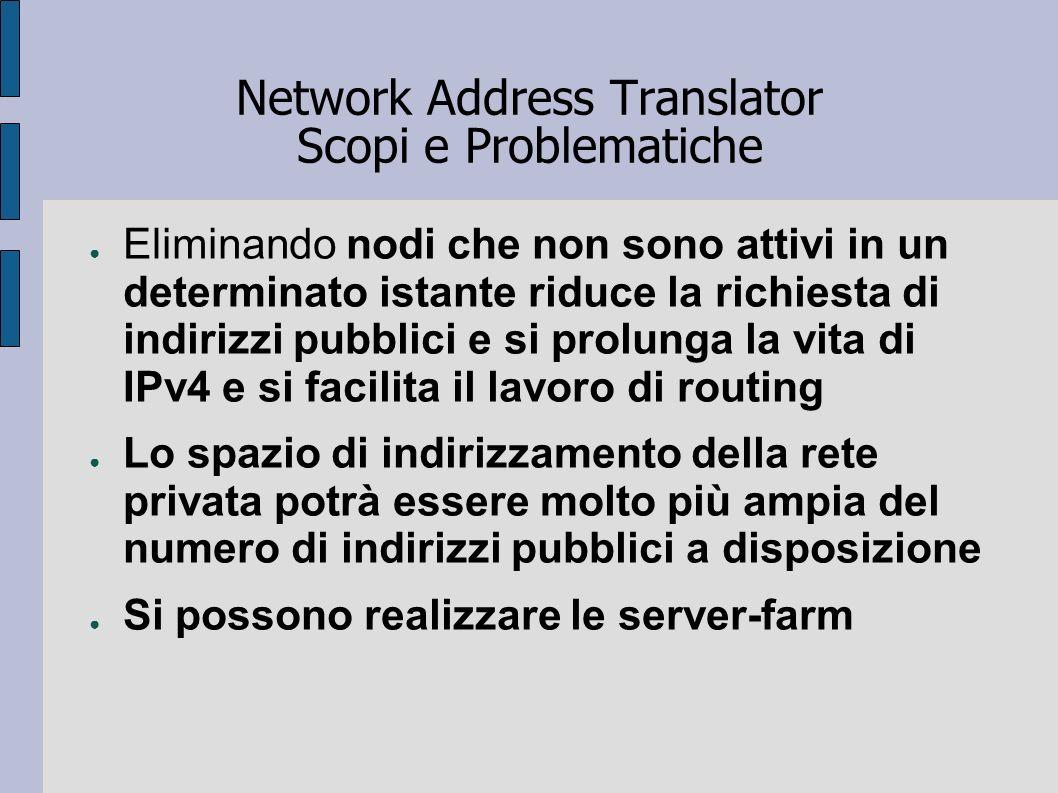 Network Address Translator Scopi e Problematiche Eliminando nodi che non sono attivi in un determinato istante riduce la richiesta di indirizzi pubbli