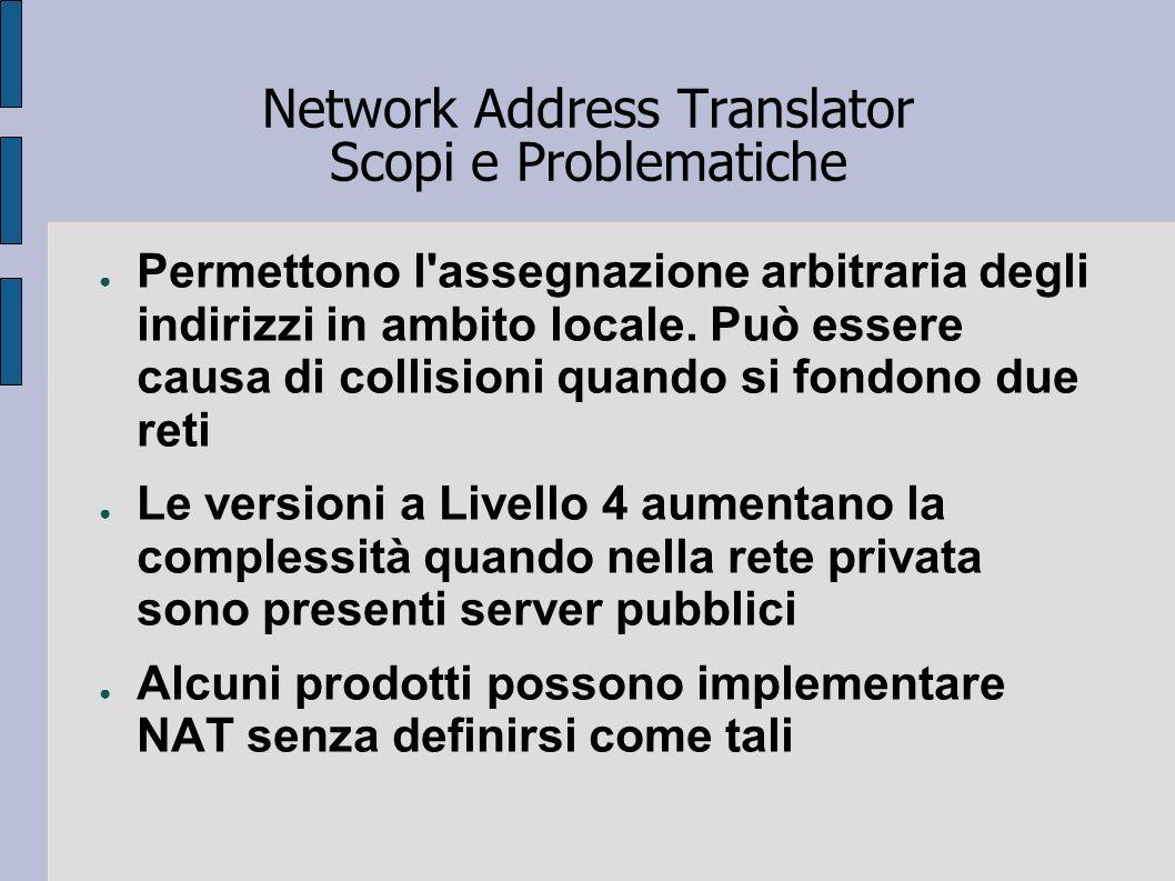 Network Address Translator Scopi e Problematiche Permettono l'assegnazione arbitraria degli indirizzi in ambito locale. Può essere causa di collisioni