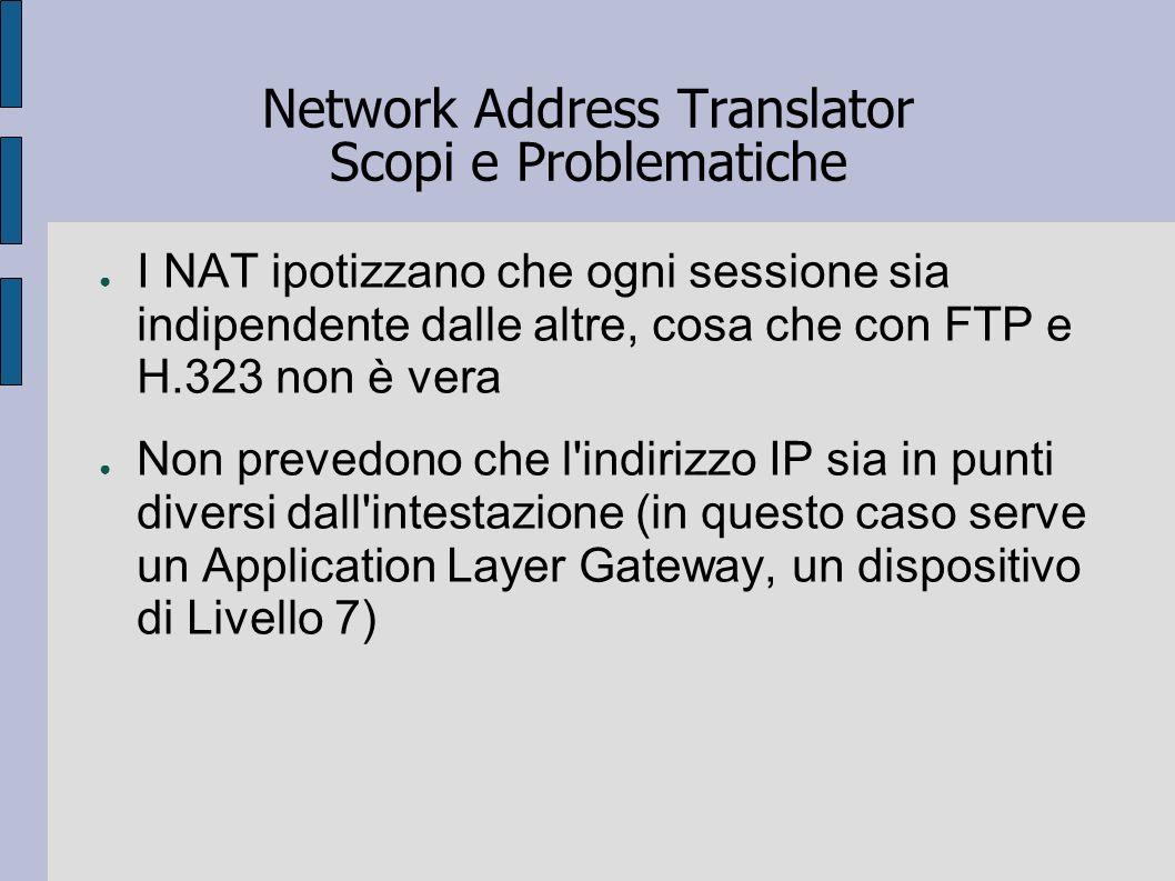Network Address Translator Scopi e Problematiche I NAT ipotizzano che ogni sessione sia indipendente dalle altre, cosa che con FTP e H.323 non è vera
