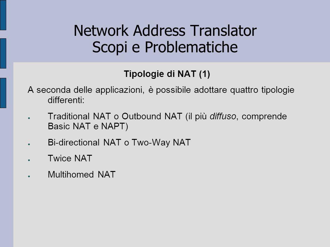 Network Address Translator Scopi e Problematiche Tipologie di NAT (1) A seconda delle applicazioni, è possibile adottare quattro tipologie differenti: