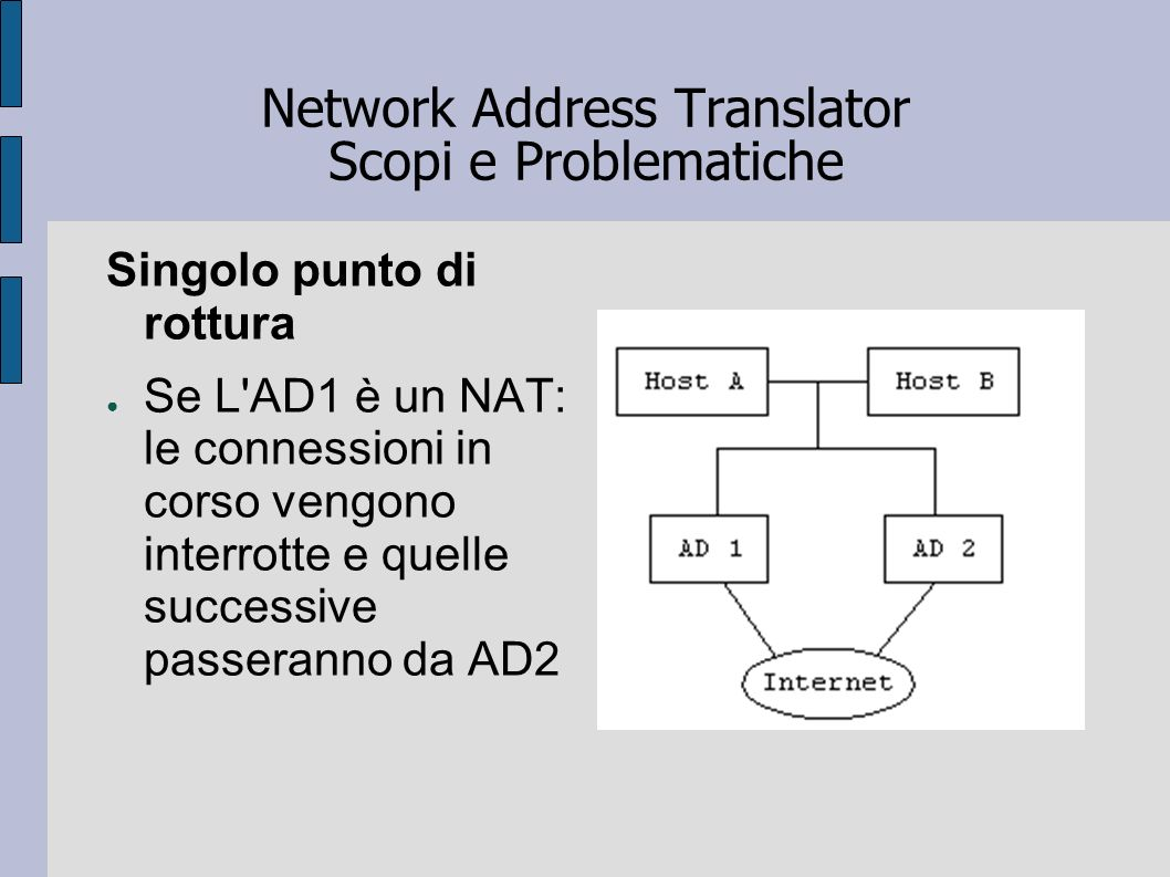 Network Address Translator Scopi e Problematiche Singolo punto di rottura Se L'AD1 è un NAT: le connessioni in corso vengono interrotte e quelle succe