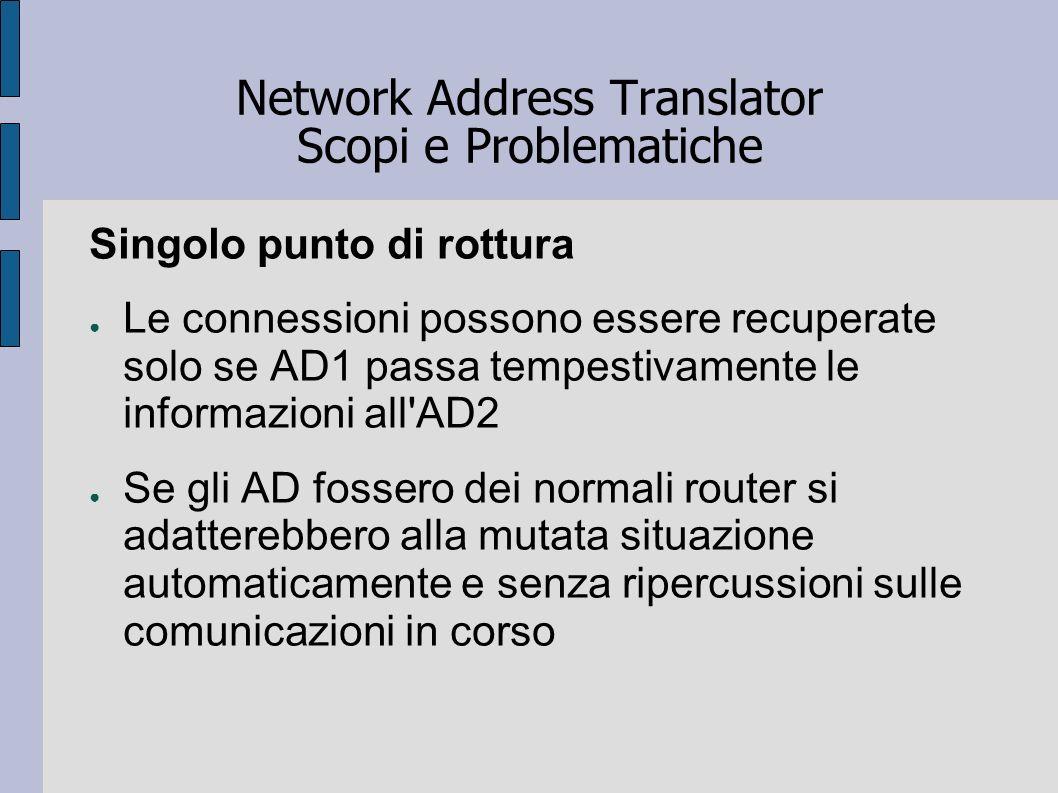 Network Address Translator Scopi e Problematiche Singolo punto di rottura Le connessioni possono essere recuperate solo se AD1 passa tempestivamente l