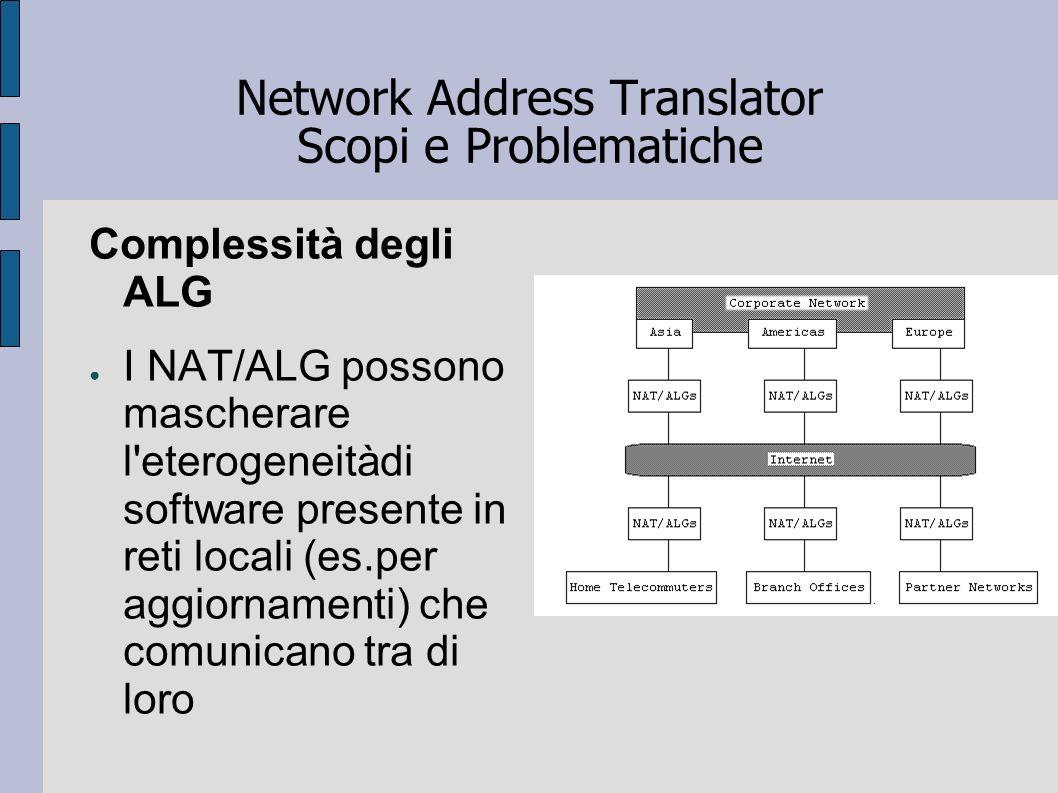 Network Address Translator Scopi e Problematiche Complessità degli ALG I NAT/ALG possono mascherare l'eterogeneitàdi software presente in reti locali