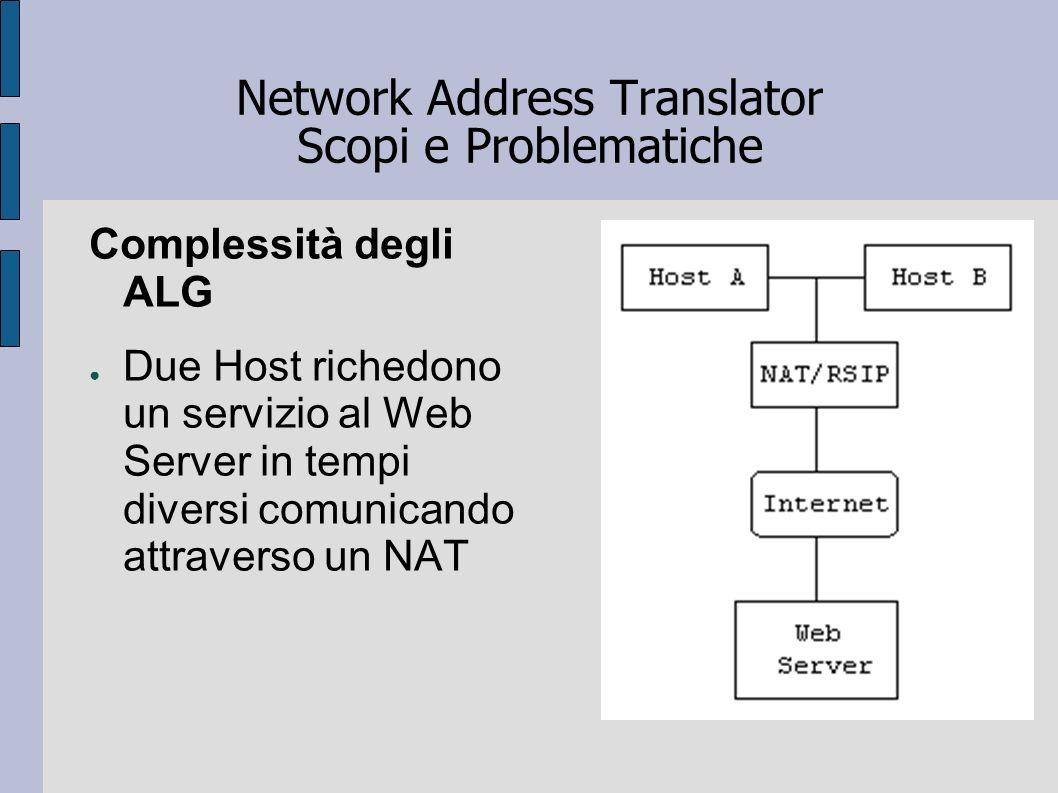 Network Address Translator Scopi e Problematiche Complessità degli ALG Due Host richedono un servizio al Web Server in tempi diversi comunicando attra