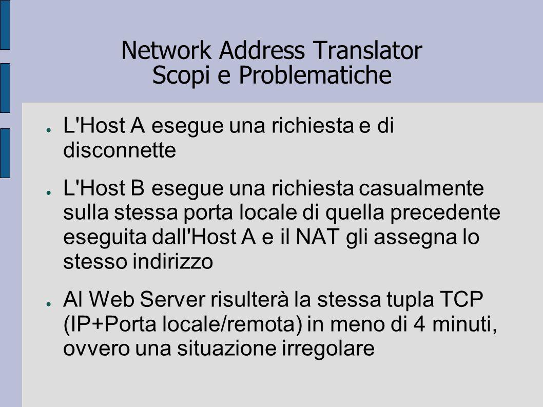 Network Address Translator Scopi e Problematiche L'Host A esegue una richiesta e di disconnette L'Host B esegue una richiesta casualmente sulla stessa