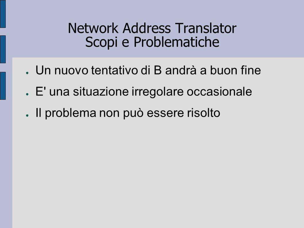 Network Address Translator Scopi e Problematiche Un nuovo tentativo di B andrà a buon fine E' una situazione irregolare occasionale Il problema non pu