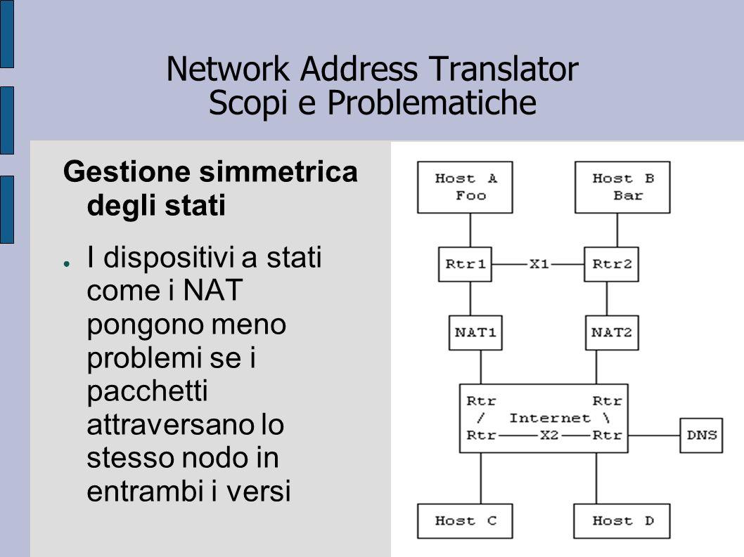 Network Address Translator Scopi e Problematiche Gestione simmetrica degli stati I dispositivi a stati come i NAT pongono meno problemi se i pacchetti