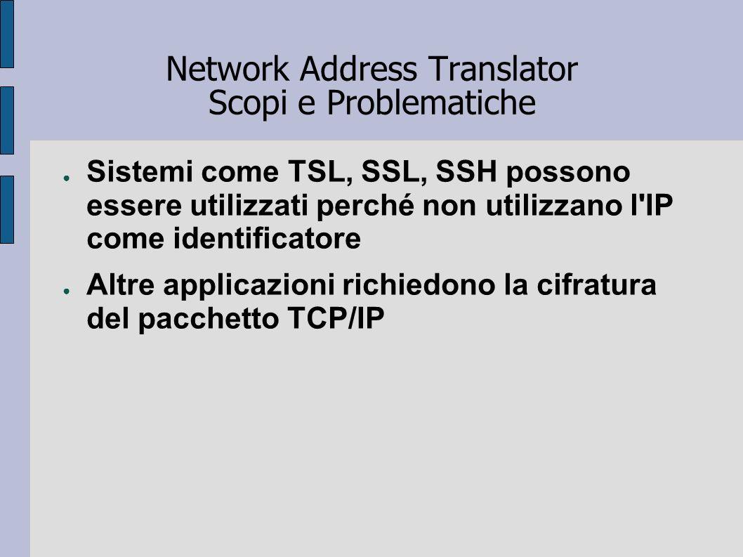 Network Address Translator Scopi e Problematiche Sistemi come TSL, SSL, SSH possono essere utilizzati perché non utilizzano l'IP come identificatore A
