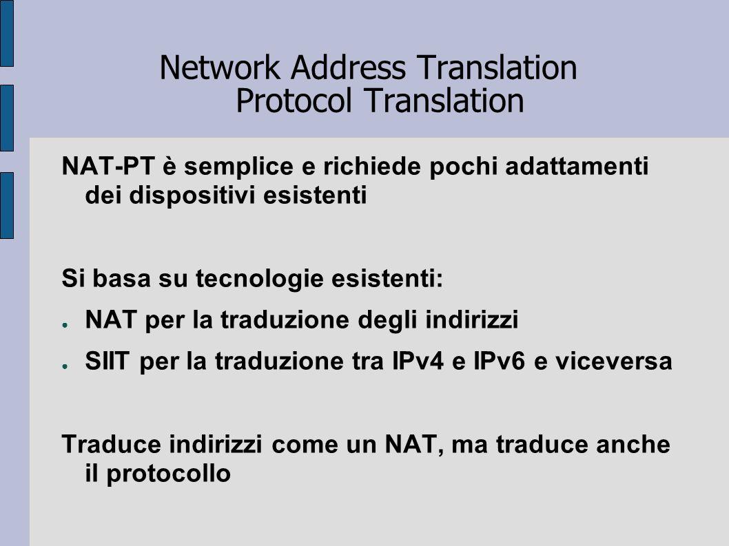 Network Address Translation Protocol Translation NAT-PT è semplice e richiede pochi adattamenti dei dispositivi esistenti Si basa su tecnologie esiste