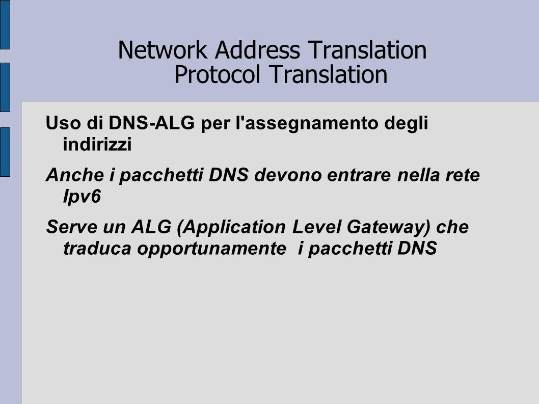 Network Address Translation Protocol Translation Uso di DNS-ALG per l'assegnamento degli indirizzi Anche i pacchetti DNS devono entrare nella rete Ipv