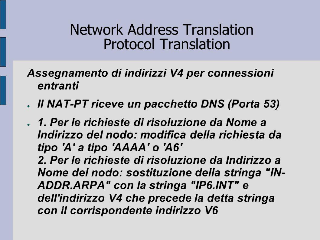 Network Address Translation Protocol Translation Assegnamento di indirizzi V4 per connessioni entranti Il NAT-PT riceve un pacchetto DNS (Porta 53) 1.