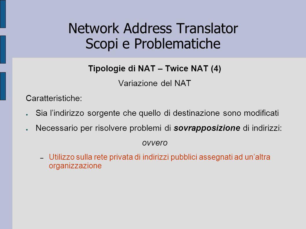 Network Address Translator Scopi e Problematiche Tipologie di NAT – Twice NAT (4) Variazione del NAT Caratteristiche: Sia lindirizzo sorgente che quel