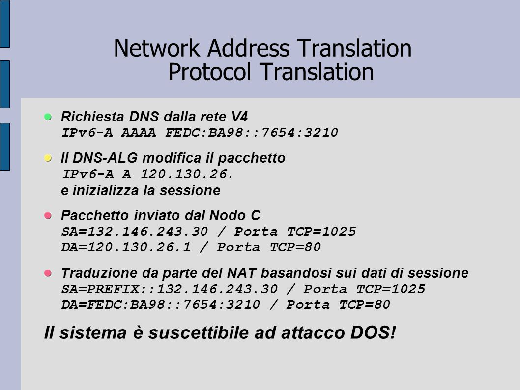 Network Address Translation Protocol Translation Richiesta DNS dalla rete V4 IPv6-A AAAA FEDC:BA98::7654:3210 Il DNS-ALG modifica il pacchetto IPv6-A