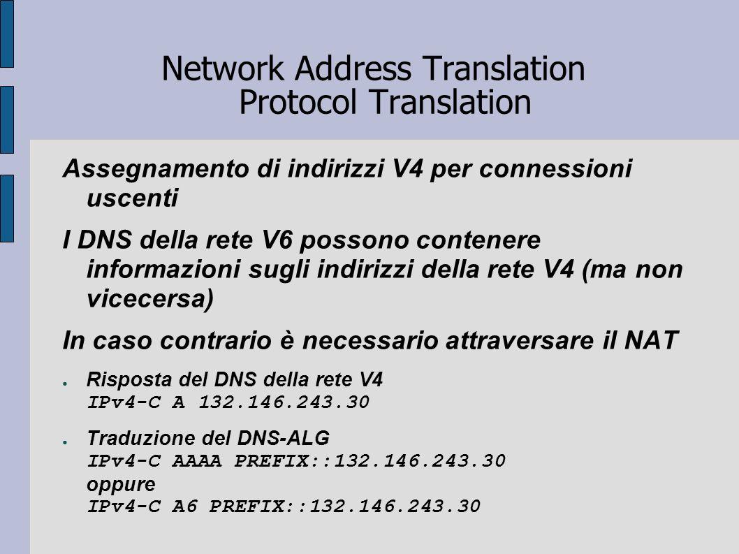Network Address Translation Protocol Translation Assegnamento di indirizzi V4 per connessioni uscenti I DNS della rete V6 possono contenere informazio