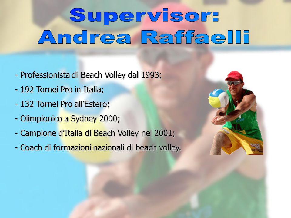 - Professionista di Beach Volley dal 1993; - 192 Tornei Pro in Italia; - 132 Tornei Pro allEstero; - Olimpionico a Sydney 2000; - Campione dItalia di