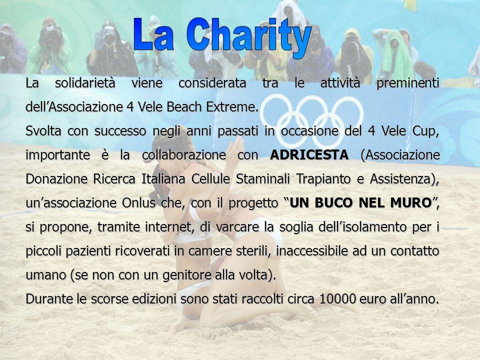 La solidarietà viene considerata tra le attività preminenti dellAssociazione 4 Vele Beach Extreme. Svolta con successo negli anni passati in occasione