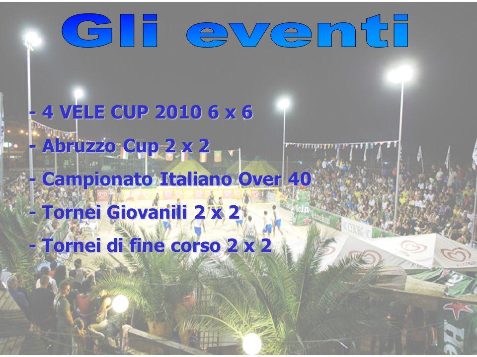 - 4 VELE CUP 2010 6 x 6 - Abruzzo Cup 2 x 2 - Campionato Italiano Over 40 - Tornei Giovanili 2 x 2 - Tornei di fine corso 2 x 2