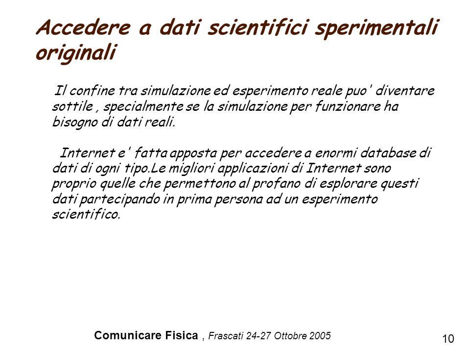 Comunicare Fisica, Frascati 24-27 Ottobre 2005 Il confine tra simulazione ed esperimento reale puo' diventare sottile, specialmente se la simulazione