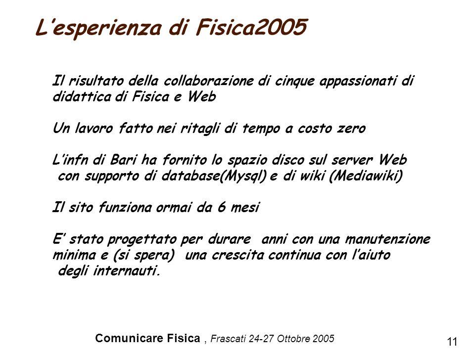 Comunicare Fisica, Frascati 24-27 Ottobre 2005 Il risultato della collaborazione di cinque appassionati di didattica di Fisica e Web Un lavoro fatto n