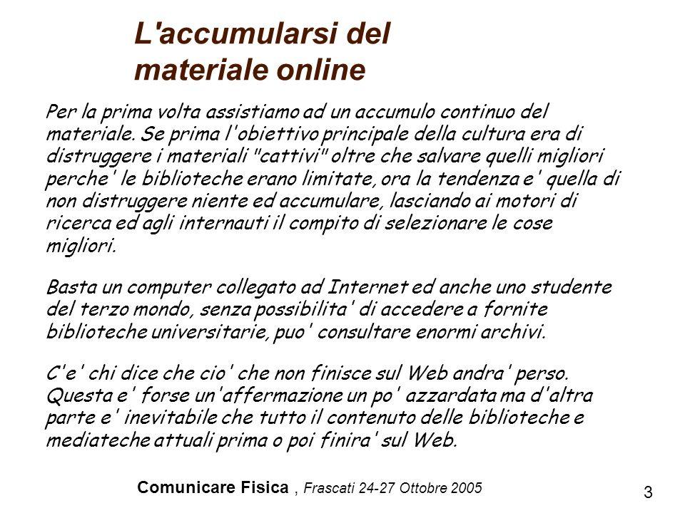 Comunicare Fisica, Frascati 24-27 Ottobre 2005 3 Per la prima volta assistiamo ad un accumulo continuo del materiale. Se prima l'obiettivo principale