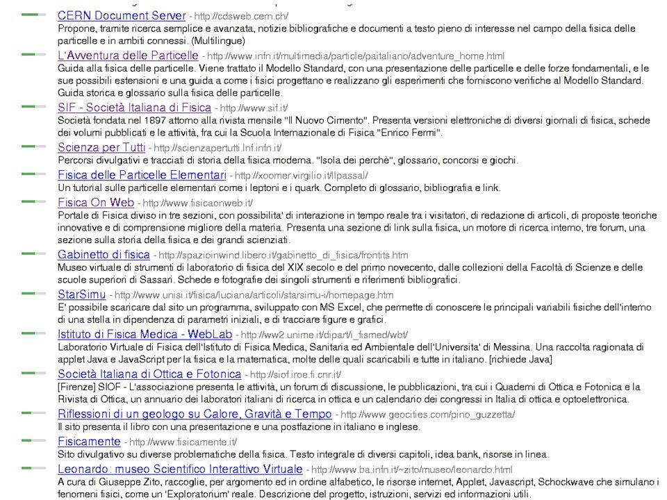 Comunicare Fisica, Frascati 24-27 Ottobre 2005 7 bis Classificazione e ricerca del materiale online(2)