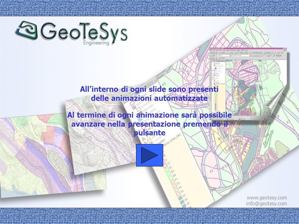 www.geotesy.com info@geotesy.com GE@WEBGIS è lapplicativo GIS per la gestione del Piano Regolatore Generale e delle certificazioni connesse, in ambiente Map Server, INTERAMENTE SVILUPPATO DA GeoTeSys GE@WEBGIS è lapplicativo GIS per la gestione del Piano Regolatore Generale e delle certificazioni connesse, in ambiente Map Server, INTERAMENTE SVILUPPATO DA GeoTeSys