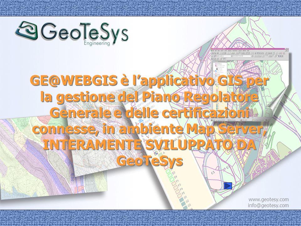 www.geotesy.com info@geotesy.com Lapplicativo, oltre a consentire la gestione dinamica del PRG, è dotato di funzioni per: lemissione diretta del certificato di destinazione urbanistica