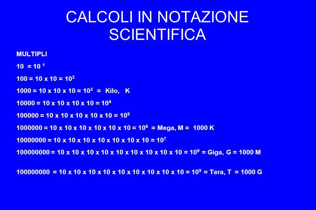 CALCOLI IN NOTAZIONE SCIENTIFICA MULTIPLI 10 = 10 1 100 = 10 x 10 = 10 2 1000 = 10 x 10 x 10 = 10 3 = Kilo, K 10000 = 10 x 10 x 10 x 10 = 10 4 100000