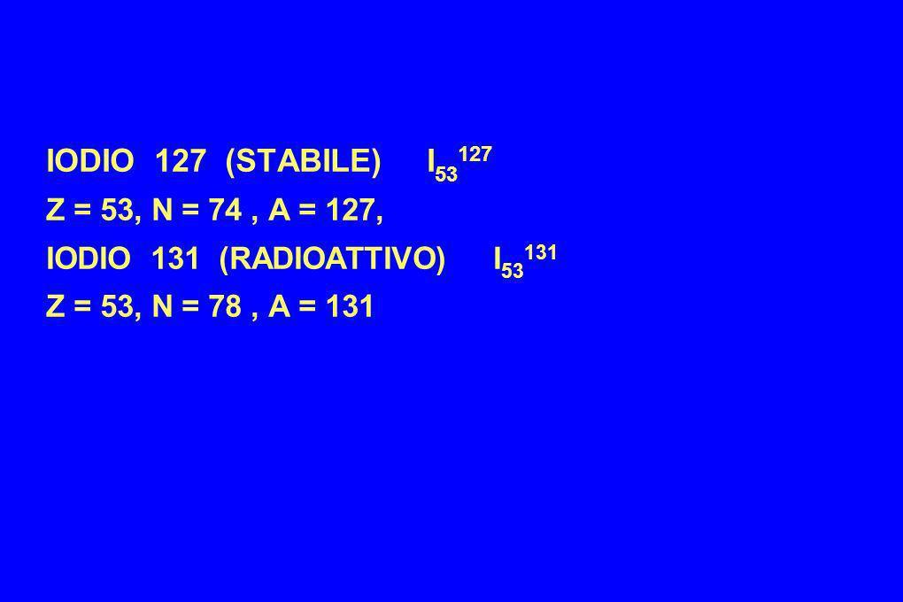 IODIO 127 (STABILE) I 53 127 Z = 53, N = 74, A = 127, IODIO 131 (RADIOATTIVO) I 53 131 Z = 53, N = 78, A = 131