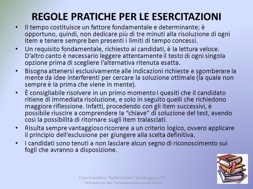 CONSIGLI UTILI Liceo Scientifico Galileo Galilei Mondragone (CE) Annotazioni per l orientamento universitario 14 Se ti prende l ansia prima dell esame...