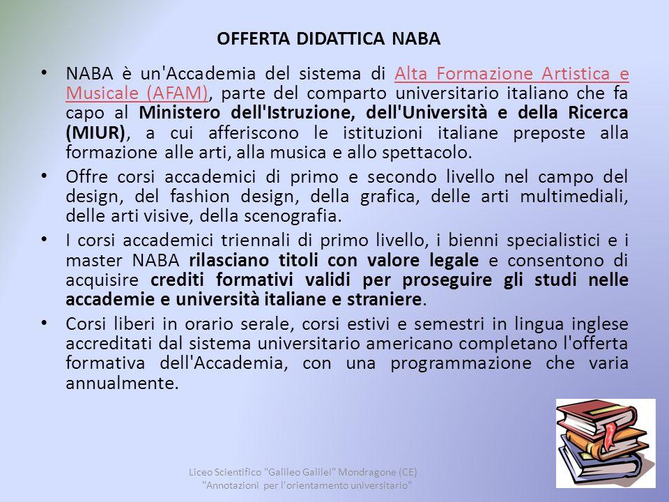 OFFERTA DIDATTICA NABA Liceo Scientifico Galileo Galilei Mondragone (CE) Annotazioni per l orientamento universitario 21