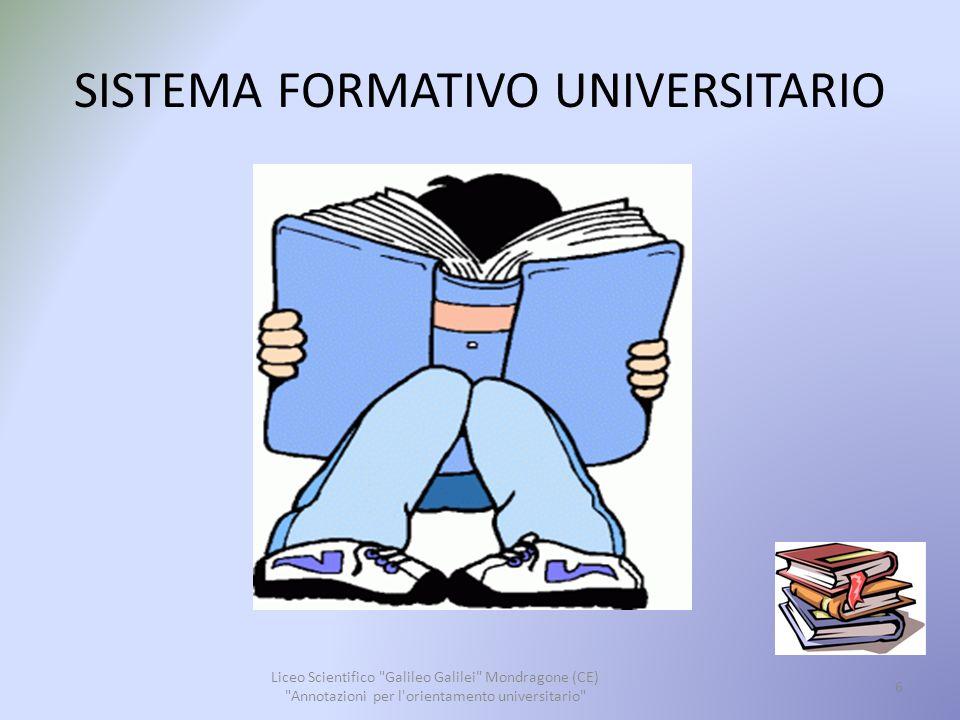 SISTEMA FORMATIVO UNIVERSITARIO Con i Decreti del Ministero dell università e della ricerca scientifica e tecnologica n.